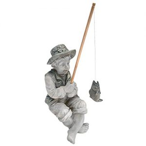 Design Toscano NG32122 Frederic the Little Fisherman of Avignon Boy Fishing Garden Statue, two tone stone