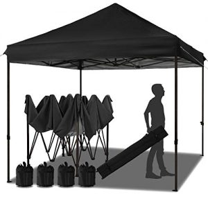 MEWAY 10ft Patio Awning Garden Shade Commercial Ez Pop Up Canopy Tent Instant Canopy Party Tent Sun Shelter with Wheeled Bag,x4 Canopy Sandbags,x4 Tent Stakes (Black)