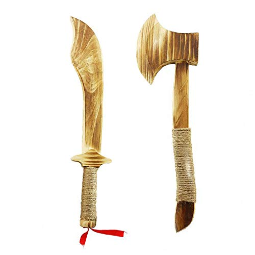 Firesofheaven Children's Wooden Axe Wooden Toy Knife Machete Toy Set Handmade Outdoor Game Hemp Rope Bundled with Chinese Tradition