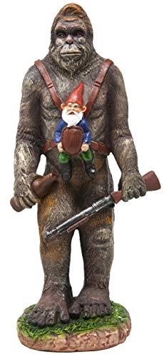 Funny Guy Mugs Garden Gnome Statue - Bigfoot and A Gnome - Indoor/Outdoor Garden Gnome Sculpture for Patio, Yard or Lawn