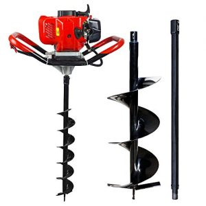 "ECO LLC 52cc 2.4HP Gas Powered Post Hole Digger with 10"" Earth Auger Drill Bit + Extention"