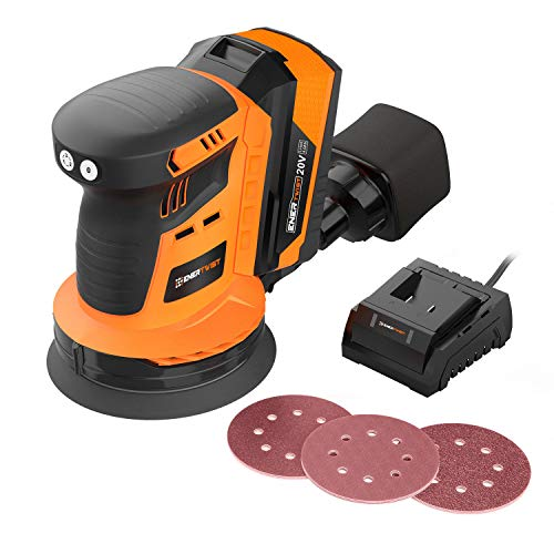 Enertwist Cordless Orbital Sander, 20V Max 5-Inch Brushless Random Orbit Sander with 4.0Ah Lithium-ion Battery and Charger, Including Dust Bag and 9-Pieces Hook-and-Loop Sanding Pads, ET-OS-20BL
