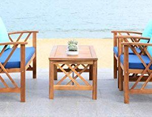 Safavieh PAT7008C Collection Fontana Teak Look and Navy 4 Pc Outdoor Set, Natural
