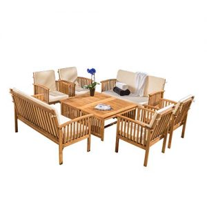 Christopher Knight Home Carolina Outdoor Wood Sofa Seating Set, 8-Pcs Set, Brown Patina