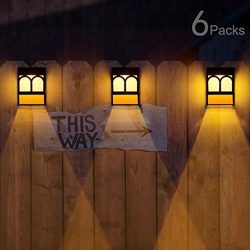 Solar Deck Lights, Led Outdoor Garden Decorative Wall Mount Fence Post Lighting, 6 Packs