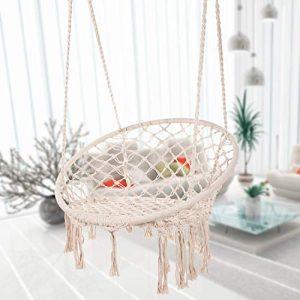 Caromy Hammock Chair Macrame Swing, Hanging Lounge Mesh Chair Durable Cotton Rope Swing for Bedroom, Patio, Garden, Deck, Yard, Max Capacity 265 Lbs (Beige)