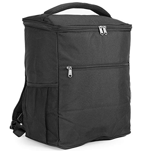 AVAFORT Insulated Cooler Backpack, Leakproof Soft Cooler for Lunch, Picnic, Hiking, Beach, Park, Soft-Sided Cooling Bag for Picnic, Beach, Camping, Hiking, 24Can (Black)