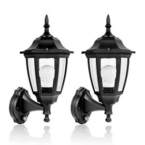SPECILITE 2700K LED Sensor, Dusk to Dawn Automatic On/Off Exterior Lantern, Smart Lighting Outdoor Wall Mount Lamp for Garden, Patio, Porch(800LM,Plastic, Bulb Included