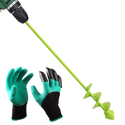 "UGarden Bulb & Bedding Plant Auger, with Garden Genie Gloves, Garden Plant Flower Bulb Auger 2"" x 16"" Rapid Planter, Non-Slip Hex Drive fits Any 3/8-inch Drill. (3 Circles)"