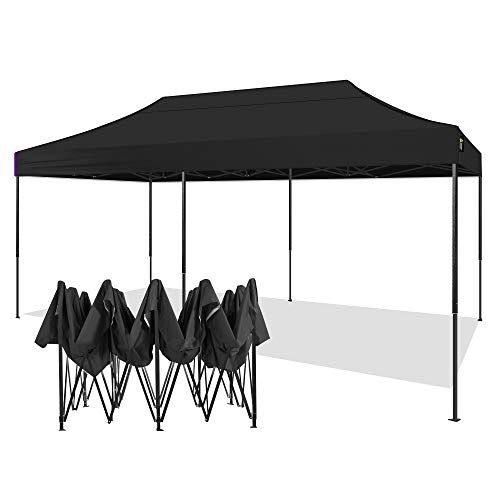 AMERICAN PHOENIX 10x20 Canopy Tent Pop Up Portable Instant Commercial Tent Heavy Duty Outdoor Market Shelter (10'x20' (Black Frame), Black)