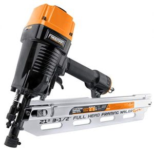 "Freeman PFR2190 Pneumatic 21 Degree 3-1/2"" Full Round Head Framing Nailer with Case Ergonomic and Lightweight Nail Gun with Interchangeable Trigger, Tool-Free Depth Adjust, and No Mar Tip, Black"