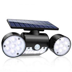 Solar Lights Outdoor, 30 LED Solar Security Lights with Motion Sensor Dual Head Spotlights IP65 Waterproof 360° Adjustable Solar Motion Lights Outdoor for Front Door Yard Garden Garage Patio(1 Pack)