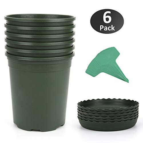 GROWNEER 6-Pack 1 Gallon Nursery Pot Garden Flower Pots, Nursery Plant Container Kit with 6 Pcs Matching Pallets and 15 Pcs Plant Labels, Green