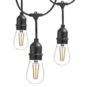 Newhouse Lighting Outdoor LED String Lights with Weatherproof Technology, Heavy Duty 48-foot cord and 16 LED Light Bulbs Included