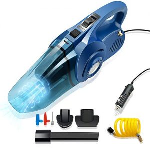 Car Vacuum Cleaner, High Power Strong Suction Vacuum Cleaner with Tire Inflator Function, Portable Lightweight Wet Dry Vacuum with 16.4 Ft Cord