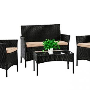 Patio Furniture Set 4 Piece Outdoor Wicker Sofas Rattan Chair Wicker Conversation Set Coffee Table Bistro Sets for Pool Backyard Lawn (Black)