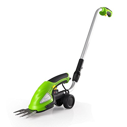 SereneLife Upgraded Hedge Trimmer Shears - Cordless Electric V2 - Push Grass Cutter W/ 3.6V Rechargeable Battery - Adjustable Height and Changeable Blade Hedge Shrubber - PSLGTM30
