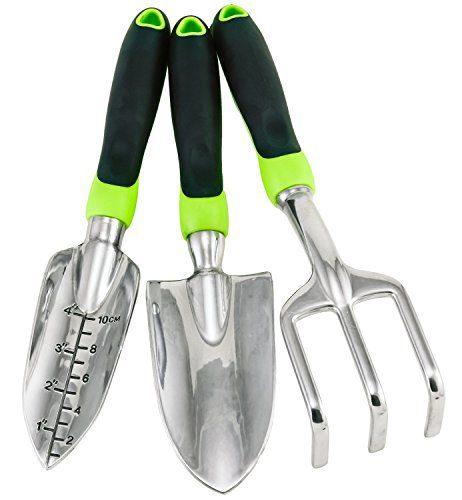 Gardening Tool Set - 3 Piece Ergonomic Aluminum Urban Garden Kit with Trowel, Transplanter, Cultivator