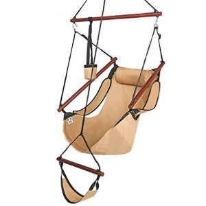 ONCLOUD Upgraded Unique Hammock Hanging Sky Chair, Air Deluxe Swing Seat with Rope Through The Bars Safer Relax with Fuller Pillow and Drink Holder Solid Wood Indoor/Outdoor Patio Yard 250LBS (Tan)