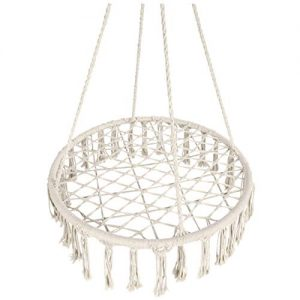 Best Choice Products Handwoven Cotton Macrame Hammock Hanging Chair Swing for Indoor & Outdoor w/Fringe Tassels - Cream