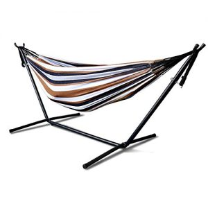 Iron Frame Wide Solid Hammock,MKLEKYY Camping Hammock,Patio Yard Beach Outdoor Double Hammock,with Space Saving Steel Stand,up to 450 pounds,Includes Portable Carrying Case,Desert Stripe (A)
