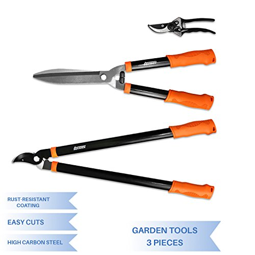 E&K Sunrise Garden Tree Tools Set 3 Piece Best for Lawn & Garden Care Garden Kit with Lopper, Hedge Shears and Pruner Shears, Tree & Shrub Care Kit