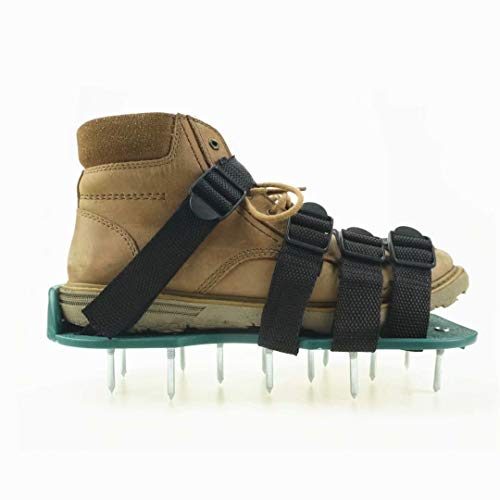 Hooyi Lawn Aerator Shoes Aerating Lawn 26 Spikes Sandals Buckles with Straps Adjustable Easy Assembled Heavy Duty Spiked Shoes for Yard,Garden,Roots & Grass,One Size Fits All
