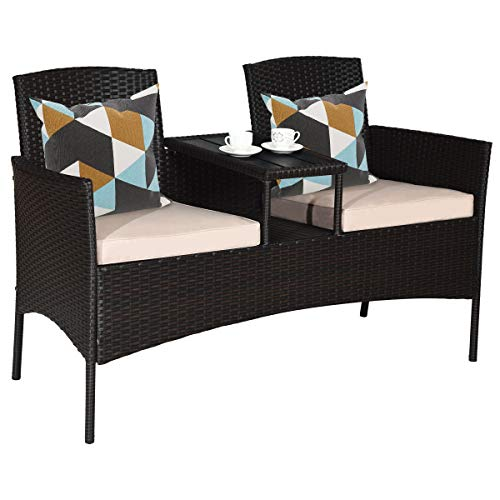 Tangkula Outdoor Rattan Loveseat, Patio Conversation Set with Cushions & Table, Modern Patio Furniture Set Wicker Sofa Set with Built-in Coffee Table, Rattan Sofas for Garden Lawn Backyard