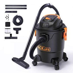 TACKLIFE Wet/Dry Vacuum, 5 Gallon, 5.5 Peak HP with 17 FT Clean Range, 4-Layer Filtration System and Safety Buoy Technology for Dry/Wet/Blowing - PVC01A