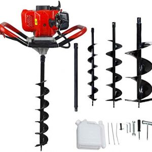 "ECO LLC 52cc 2.4HP Gas Powered Post Hole Digger with 3 Earth Auger Drill Bit 4"" & 6"" & 10"" and Extension Rod"
