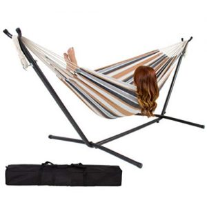 Pikakos Double Hammock with Stand for 2 Persons Up to 450 Pounds, Outdoor & Indoor Patio and Lawn Portable Hammock Swing Bed for Kids Adults (A)