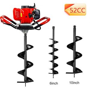 """ECO LLC 1-Person 52cc 2-Cycle Earth Auger Powerhead with Two Earth Auger Drill Bit 6"""" & 10"""""""