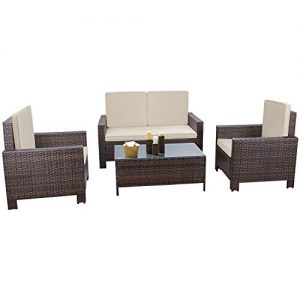 Flamaker 4 Pieces Patio Furniture Set Outdoor Furniture Set Rattan Conversation Sofa Set with Coffee Table for Garden Poolside Porch Backyard Lawn Balcony Use (Brown)