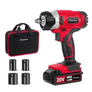 "20V MAX Cordless Impact Wrench with 1/2"" Chuck, Max Torque 2213 in-lbs, 4Pcs Driver Impact Sockets, Tool Bag and 1.5A Li-ion Battery, Avid Power MCIW326"