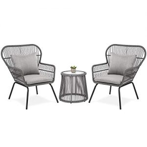 Best Choice Products 3-Piece Patio Wicker Conversation Bistro Set w/ 2 Chairs, Glass Top Side Table, Cushions - Gray