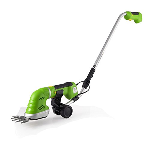SereneLife Handheld Hedge Trimmer | Cordless Hedge Trimmer | Push Grass Cutter Shears W/ 7.2V Rechargeable Batteries | Telescoping Roller Handle Arm | Changeable Blades