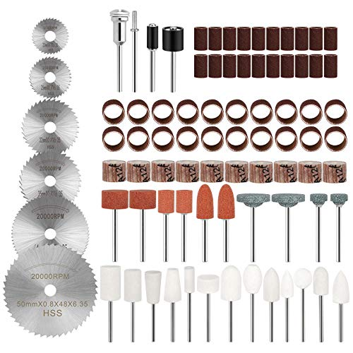 83 Pcs Rotary Tool Accessory Set with Organizer Case for Easy Cutting Grinding Sanding Polishing, Including Sanding Band, HSS Saw Blade, Grinding Wheel, Flap Wheel, Felt Wheel