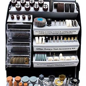 Toolman 400PCs Rotary Tool Accessory Kit for Easy Cutting, Grinding, Sanding, Sharpening, Carving and Polishing QTH033