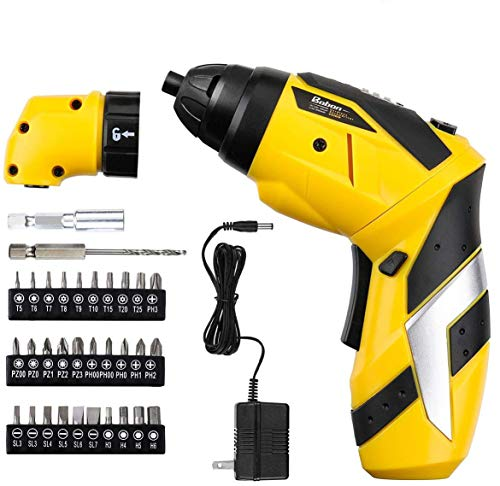 Baban Electric Screwdriver 2000mAh Li-Ion Rechargeable Cordless Screw Gun with 30Bits USB Charging Cable 30pcs Driver Bits LED Light, Yellow