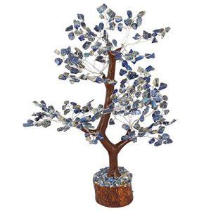 Crocon Lapis Lazuli Gemstone Money Tree Feng Shui Bonsai for Reiki Healing Chakra Stone Balancing Energy Generator Spiritual Meditation Home Interior Office Decor Size 10-12 Inch