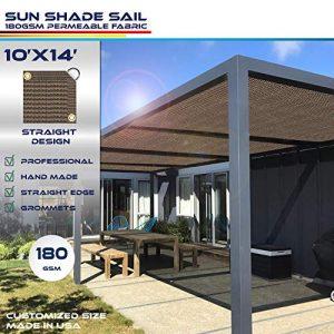 Windscreen4less Straight Edge Sun Shade Sail,Rectangle Outdoor Shade Cloth Pergola Cover UV Block Fabric 180GSM - Custom Size Brown 10' X 14'