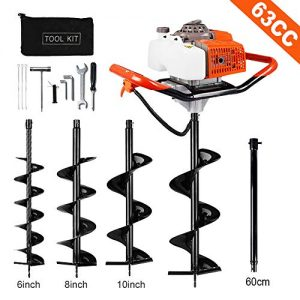 "ECO LLC Hand-Held Gas Powered Post Hole Digger, 63cc, 3 hp, With Auger Combo - choose up to 3! (6"", 8"", 10"" Earth Augers) + 23'' Extention Rod"