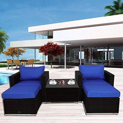 Outdoor Rattan Couch Wicker Sectional Conversation Sofa Set Lawn Garden Patio Furniture Set Rattan Royal Blue Cushion