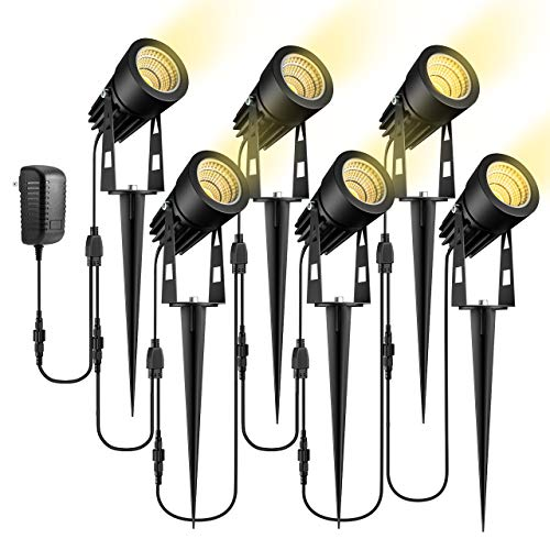 ECOWHO Low Voltage Landscape Lights, 12V Outdoor Landscape Lighting LED Spot Lights Plug in Waterproof Garden Lights for Flood Yard Driveway Path (Warm White, 6 Pack)