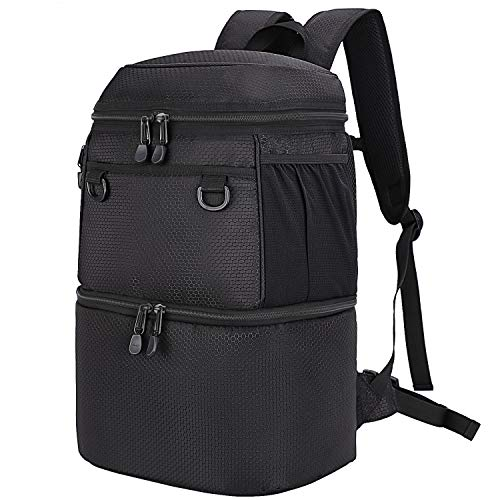 MIER Insulated Backpack Cooler Men Women Lunch Backpack to Hiking, Camping, Beach, Picnic, Work, Travel, Park, Double Deck, Large, Black