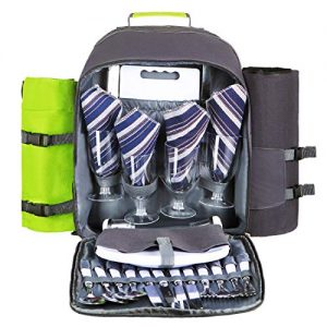 HOMAKER Picnic Backpack for 4 Person Set Pack withLarge Insulated Cooler Compartment, Waterproof Fleece Blanket for Family Outdoor Camping - Green