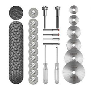 Cutting Wheel Set 36pcs for Rotary Tool, HSS Circular Saw Blades 6pcs, Resin Cutting Discs 20pcs, 545 Diamond Cutting Wheels 10psc with 2 Screwdrivers