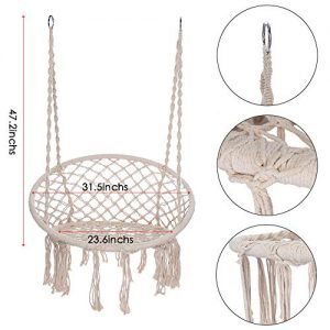 KANGMOON Hammock Chair Macrame Swing - Max 330 Lbs-Hanging Cotton Rope Hammock Swing Chair for Indoor and Outdoor Use (Beige)
