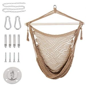 Patio Watcher Hammock Chair Hanging Rope Swing Seat with 2 Cushions and Hardware Kits, Perfect for Indoor, Outdoor, Home, Bedroom, Patio, Yard,Deck, Garden, Brown
