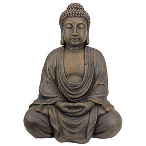 Design Toscano Meditative Buddha of the Grand Temple Garden Statue, Medium 26 Inch, Polyresin, Dark Stone